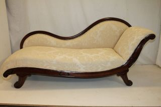 Exquisite Victorian Walnut Chaise Longue/recamier,  Upholstery photo