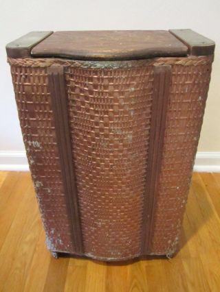 Art Deco Antique Vintage Wicker And Steel Clothes Hamper With Wood Accent photo