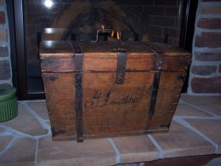 Early Antique Primitive Wooden Travel Trunk.  Painted Name,  Square Nails Dovetail photo