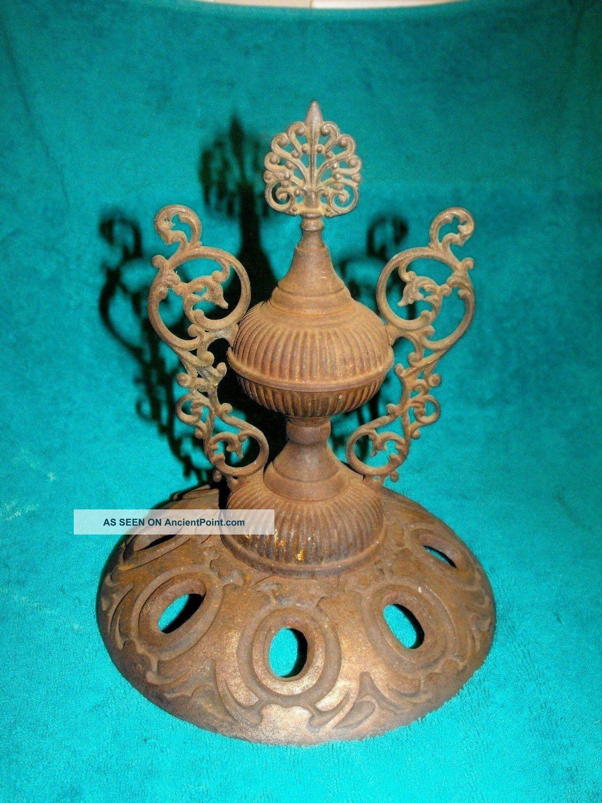 Antique Victorian Cast Iron Ornate Parlor Stove Top Lid Art Nouveau Finial.  E - S Hearth Ware photo