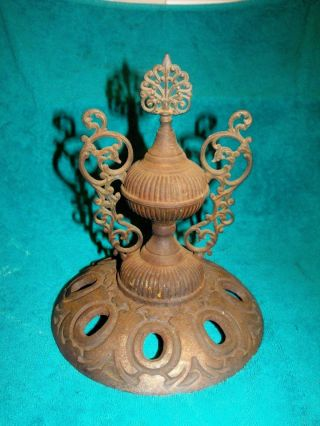 Antique Victorian Cast Iron Ornate Parlor Stove Top Lid Art Nouveau Finial.  E - S photo