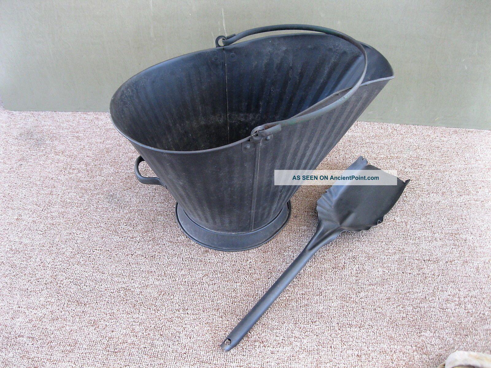 Antique Coal Scuttle Ash Hod Bucket Primitive 18 Metal,  Shovel,  Bail Handle Hearth Ware photo