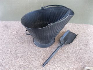 Antique Coal Scuttle Ash Hod Bucket Primitive 18 Metal,  Shovel,  Bail Handle photo