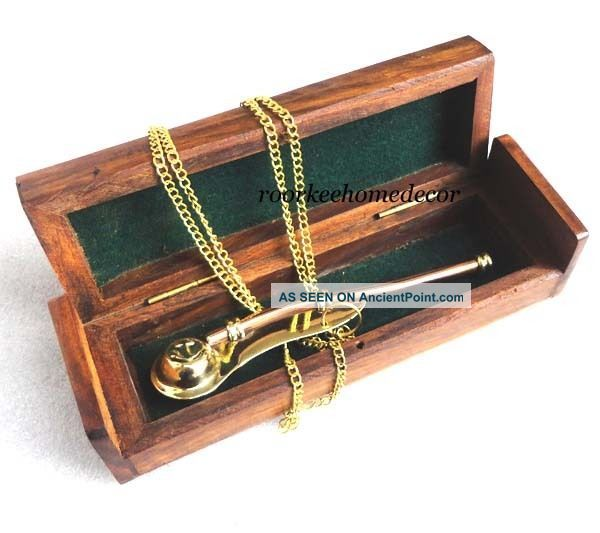 Nautical Brass & Copper Bosun ' S Whistle,  Boatswains Pipe W Wooden Box Bells & Whistles photo