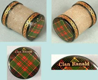 Antique Tartan Ware Thread Waxer Unusual Clan Ranald Scottish Circa 1870 photo
