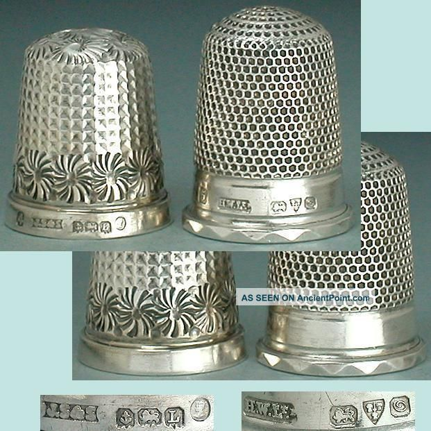 2 Vintage English Sterling Silver Thimbles Hallmarked 1935 & 1914 Thimbles photo