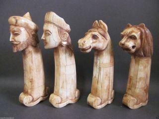 Antique Finish King Queen Lion Horse Face Decorative Camel Bone Knife Handle S/4 photo