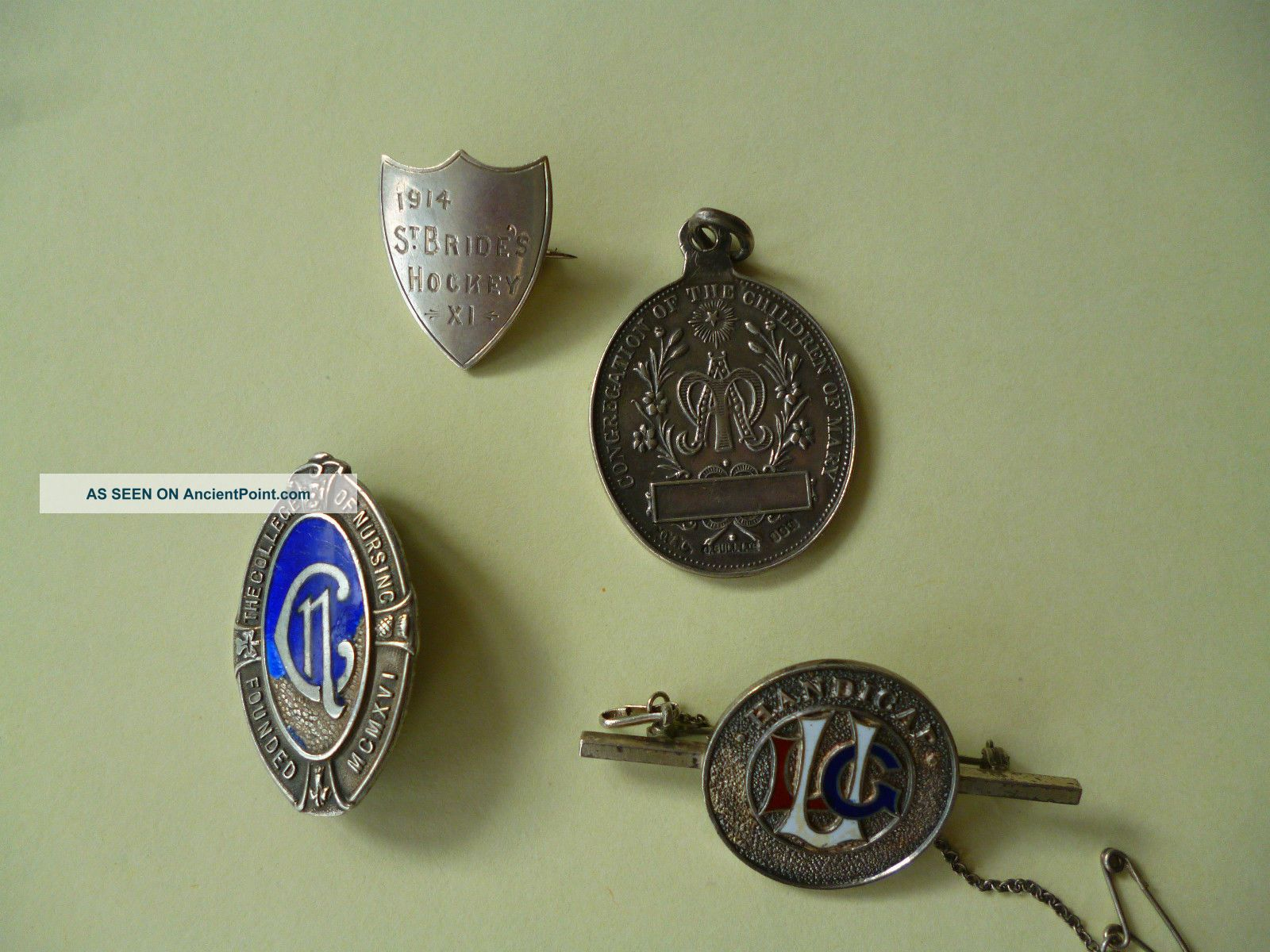 Solid Silver Badges /fob Pocket Watches/ Chains/ Fobs photo