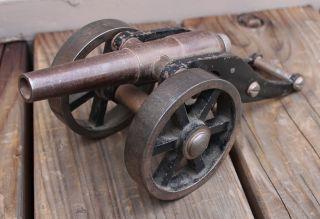 Antique Vintage Cast Iron & Steel Black Powder Artillery Signal Cannon Maritime photo
