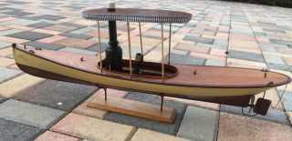 Vintage African Queen Style Wood Steam River Boat Model,  30 Inches Long photo