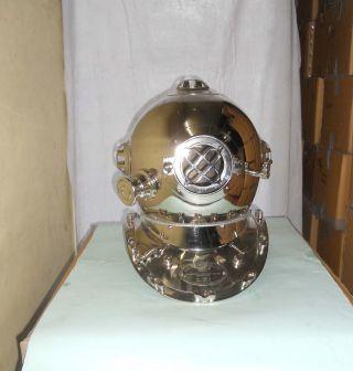 Steel Metal Chrome Finish Mark V Deep Diving Helmet Navy 18 Inch Diving Helmet photo