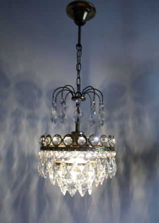 Mini Vintage - - Antique French Basket Style Brass & Crystals Chandelier Lamp photo