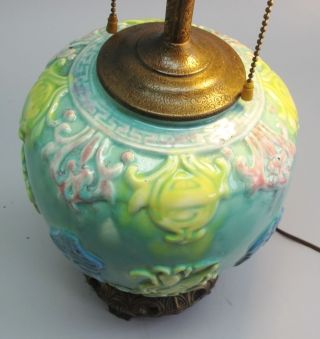 Rare Chinese Qing Dynasty Relief Vase As Lamp C.  1870 Antique Pottery photo