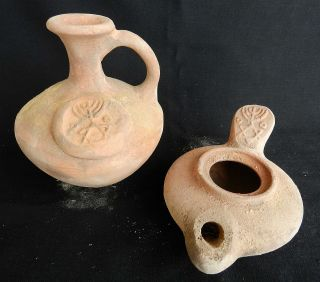 2 Biblical Ancient Antique Jug & Oil Lamp Jerusalem Clay Pottery Terracotta Rep photo
