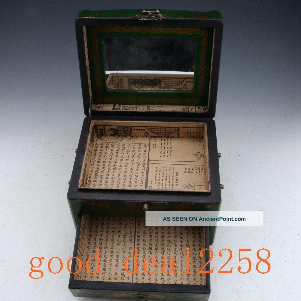 Oriental Vintage Hardwood Hand - Painting Magpie Green Box & Mirror Boxes photo