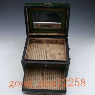 Oriental Vintage Hardwood Hand - Painting Magpie Green Box & Mirror photo