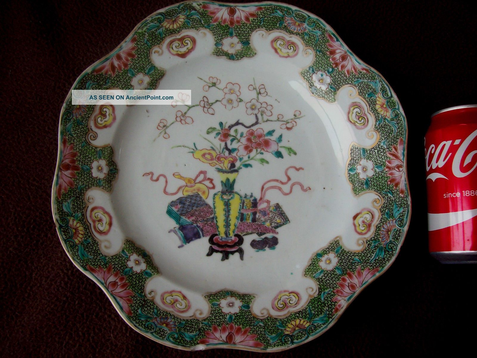 Big 27cm Chinese 18th C Yongzheng Qianlong Famille Rose Verte Charger Plate Vase Porcelain photo