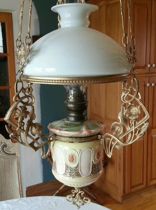 Antique Majolica Hanging Oil Lamp Chandelier Cottage Country Art Nouveau photo
