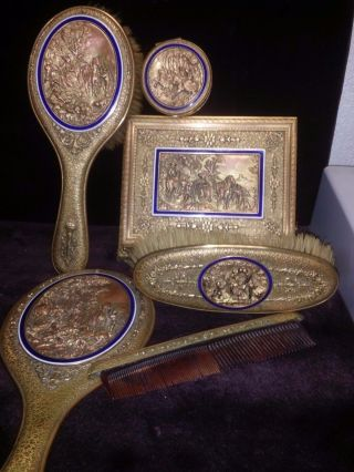 Antique Bronze Casket From France,  Hairbrush,  Boots.  Mirror.  Gold Plated 1870 - 1930 photo