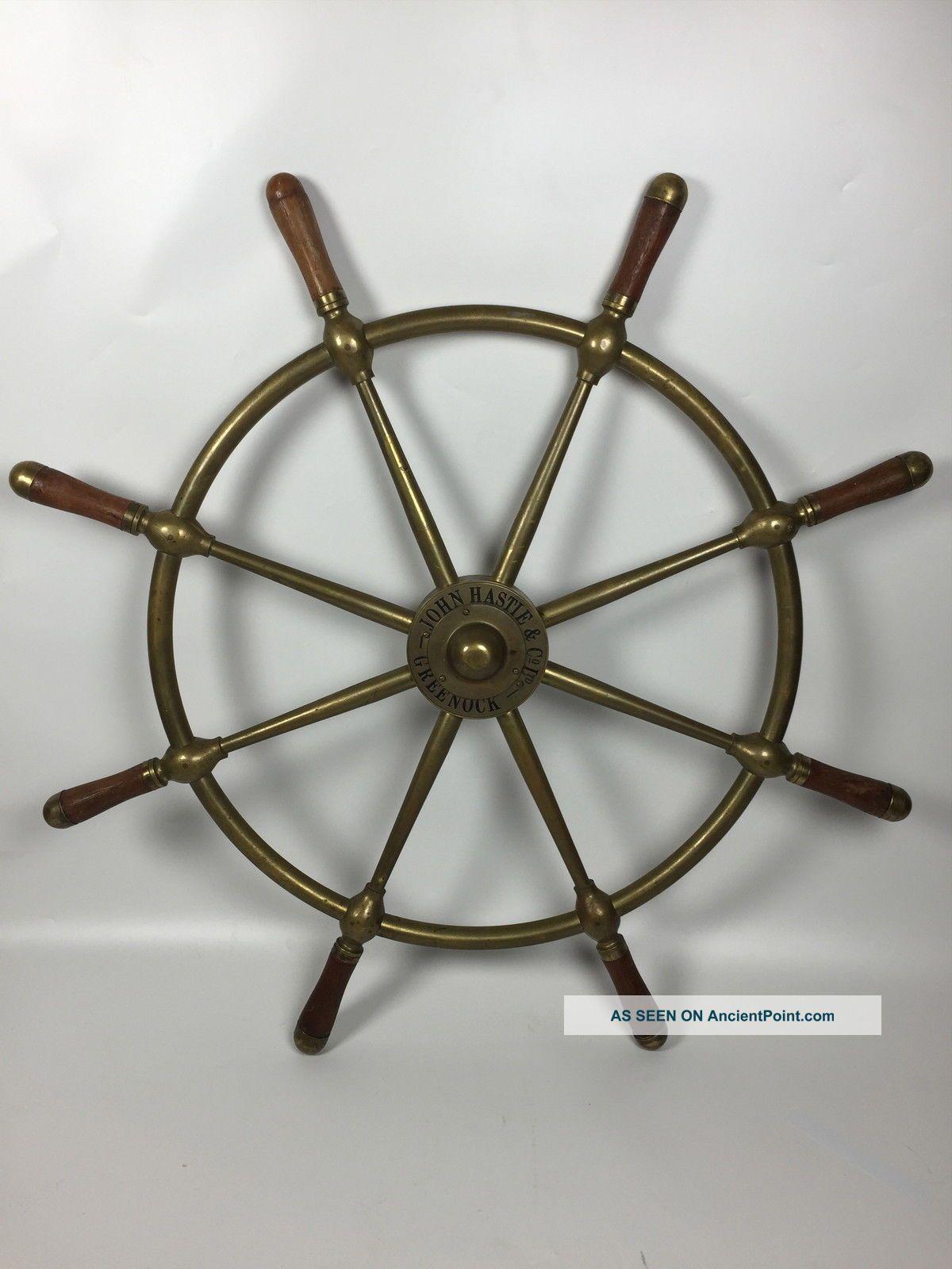 John Hastie & Co.  Ltd.  Greenock All Brass Ships Wheel Wheels photo