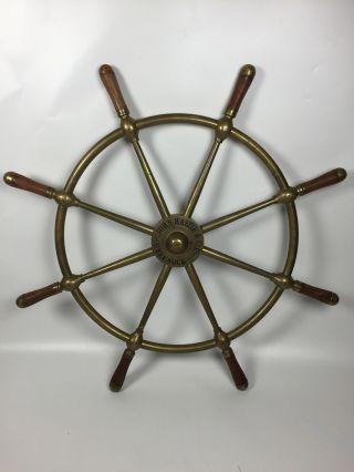 John Hastie & Co.  Ltd.  Greenock All Brass Ships Wheel photo