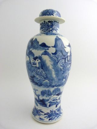 Large Chinese Blue And White Porcelain Baluster Vase And Cover,  19th Century photo