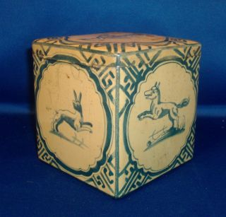 Vintage Tole Tin Tea Caddy Box With 18th C.  Delft Chinoiserie Tile Decoration photo