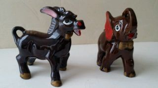 40/50s Clay Pottery? Hand Painted Political Bow Tie Donkey & Elephant Figurines photo