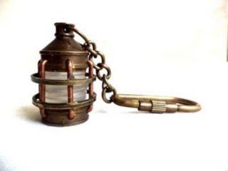 Nautical Solid Brass Mini Lamp Key Chain Vintage Old Kerosene Lamp Marine Kc 01 photo