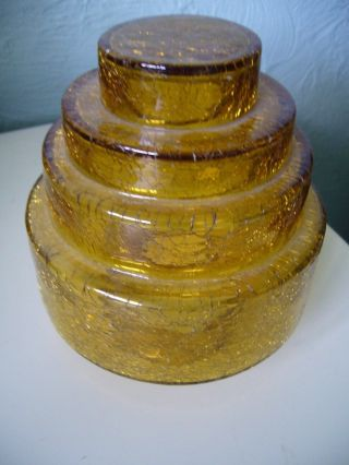 A Bohemian Art Deco Amber Stepped Crackle Glass Lamp Shade photo