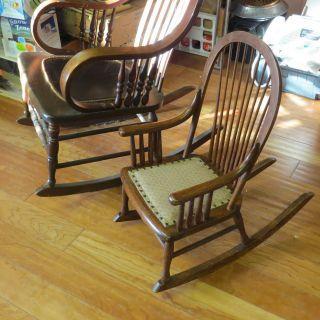 Antique Wicker Vintage Child ' S Rocking Chair,  Wicker Seat,  Rocker Is photo