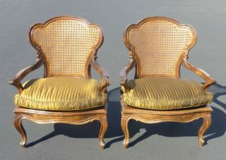 Pair Vintage French Provincial Cane Accent Arm Chairs Gold Silk Cushions Unique photo