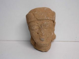Ancient Greek Limestone Large Head Of A Kouros,  Greek Archaic Period photo