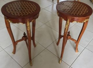 Solid Wood Inlaid Polished Marquetry Pedestal Tables With Bronze Accents photo