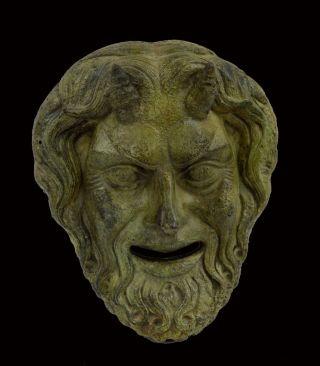 Bronze Mask Of Pan,  Panas God Of Nature And The Wild Sculpture Artifact photo