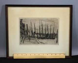 1859 Antique Whistler Drypoint Etching Print Billingsgate English Harbor Nr photo