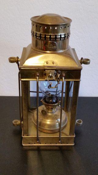Vintage Viking Brass Hanging Ship ' S Oil Lantern Lamp photo