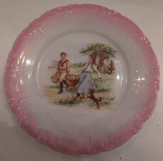 Antique Porcelain Portrait Children Dog 6 1/4