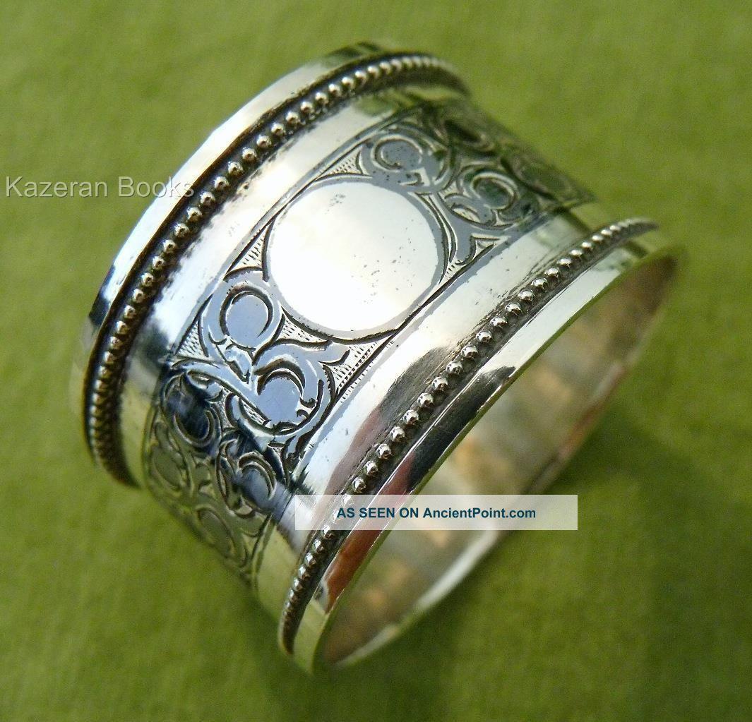 Antique Russian Solid Silver Niello Napkin Ring C1900 Nikolay Kemper Kokoshnik Napkin Rings & Clips photo