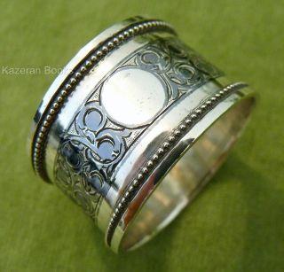 Antique Russian Solid Silver Niello Napkin Ring C1900 Nikolay Kemper Kokoshnik photo
