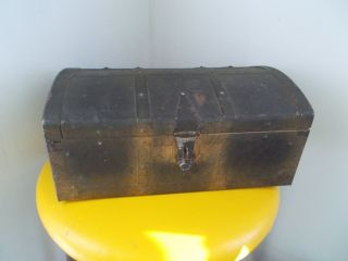 Antique Style Tin Dome Top Pirate Treasure Chest Steamer Metal Storage Trunk photo