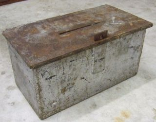 Heavy Handmade Vtg Solid Steel Strong Lock Box 19