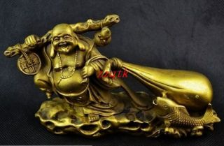 Old Handwork Copper Carving Buddha Carry Sack Of Gold Coin Big Statue photo