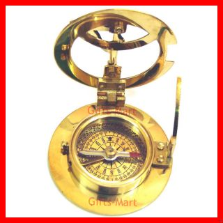 Brass Sundial Compass Antique Pirate Collectible Nautical Brass Sun Dial Compass photo