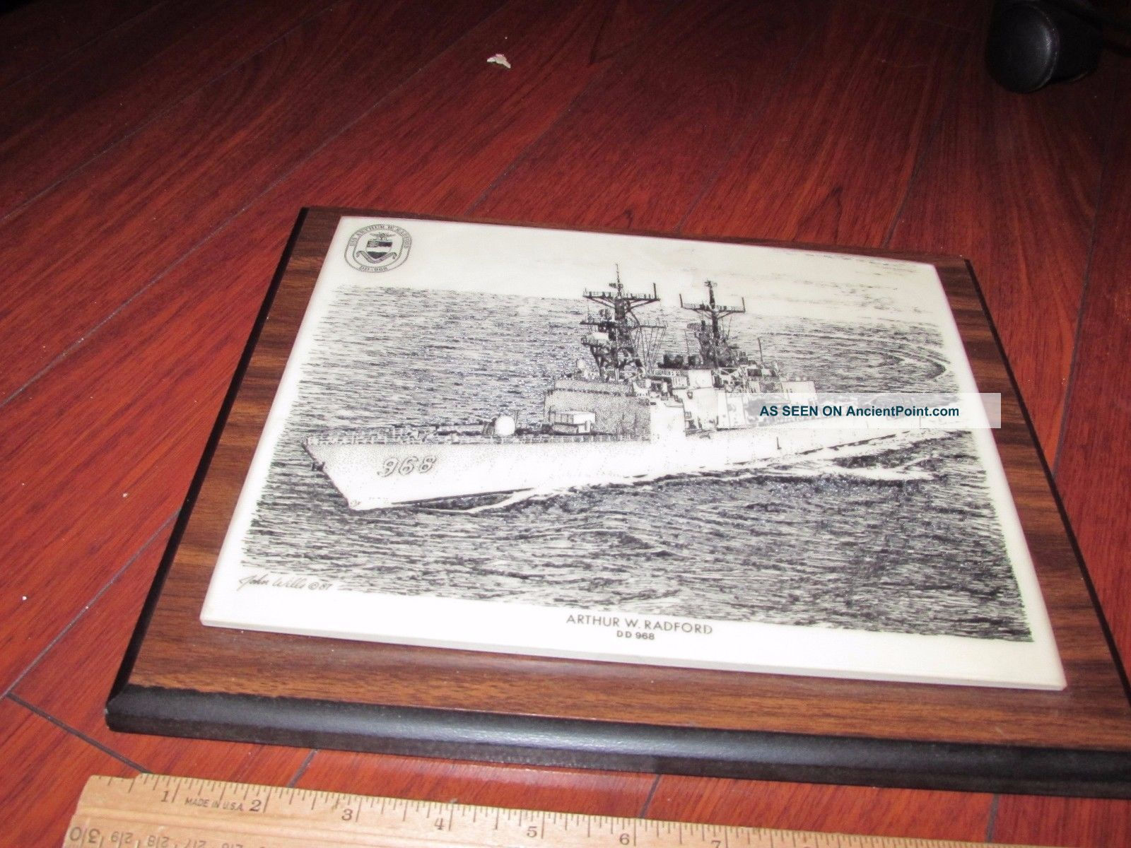 Uss Arthur W.  Radford Dd - 968 Destroyer Signed Art Plaque Marble On Wood Look Plaques & Signs photo