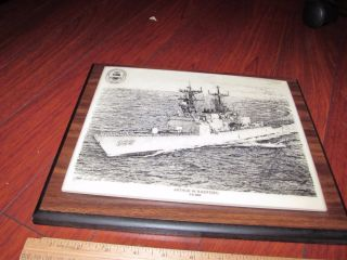 Uss Arthur W.  Radford Dd - 968 Destroyer Signed Art Plaque Marble On Wood Look photo
