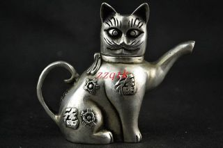 Chinese Collectible Handwork Old Tibet Silver Carving Cat Lucky Tea Pot photo
