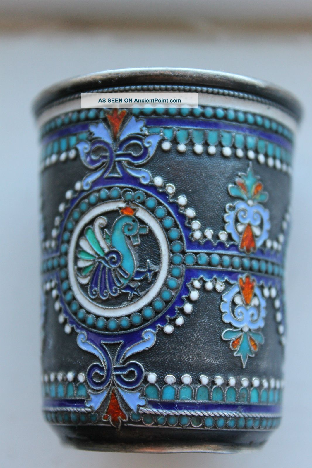 Antique Russian Silver 84 Cloisonne Shaded Enamel Cup Cups & Goblets photo