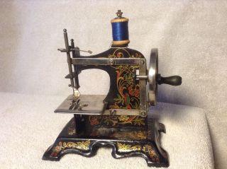 Antique German Child ' S Miniature Ornate Hand Crank Sewing Machine W/box photo