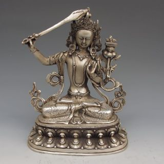 Tibet Silver Copper Tibetan Buddhism Statue - - Manjusri Bodhisattva photo